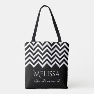 Black and white chevron zig zag stripe bridesmaids tote bag