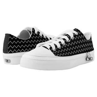 Black And White Chevron Zigzag Pattern Low Tops