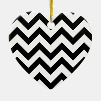 Black And White Chevrons Ceramic Heart Decoration