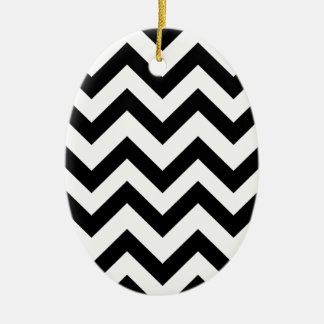 Black And White Chevrons Ceramic Oval Decoration