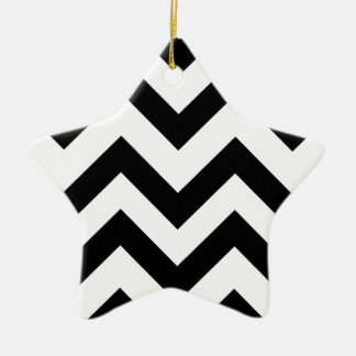 Black And White Chevrons Ceramic Star Decoration