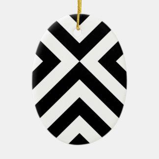 Black and White Chevrons Christmas Ornament