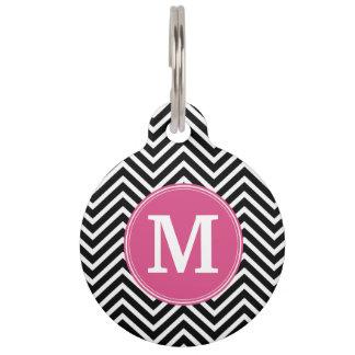 Black and White Chevrons Custom Pink Monogram Pet Name Tags