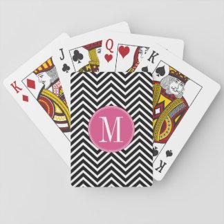 Black and White Chevrons Custom Pink Monogram Playing Cards