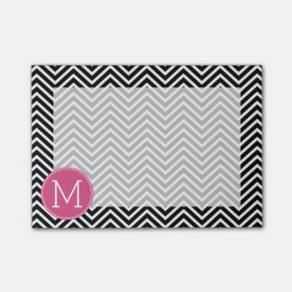 Black and White Chevrons Custom Pink Monogram Post-it Notes