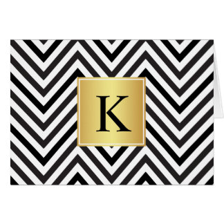 Black and White Chevrons Pattern with Monogram Card