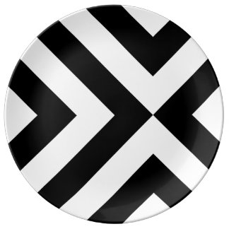 Black and White Chevrons Porcelain Plate