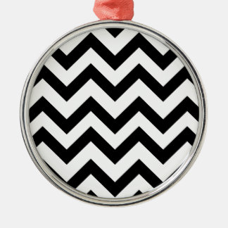 Black And White Chevrons Silver-Colored Round Decoration