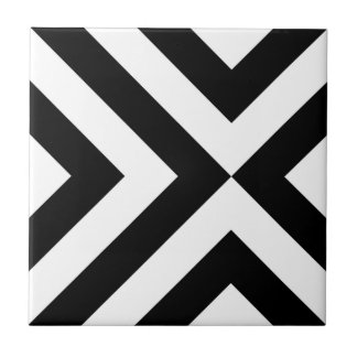 Black and White Chevrons Small Square Tile