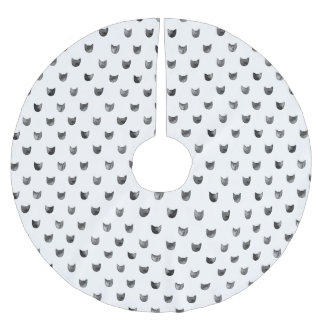 Black and White Chic Cute Cat Pattern Brushed Polyester Tree Skirt
