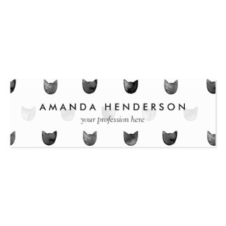 Black and White Chic Cute Cat Pattern Pack Of Skinny Business Cards