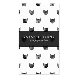 Black and White Chic Cute Cat Pattern Double-Sided Standard Business Cards (Pack Of 100)