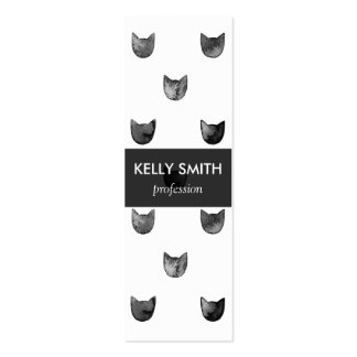 Black and White Chic Cute Cat Pattern Double-Sided Mini Business Cards (Pack Of 20)