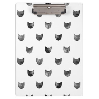 Black and White Chic Cute Cat Pattern Clipboard