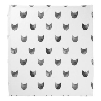 Black and White Chic Cute Cat Pattern Head Kerchiefs