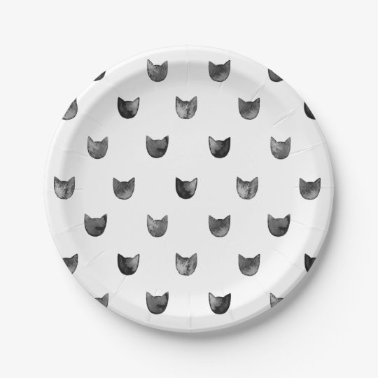 Black and White Chic Cute Cat Pattern Paper