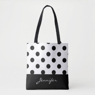 Black and White Chic Polka Dots with Monogram Tote Bag