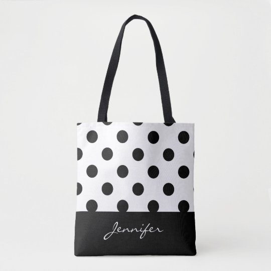 Black and White Chic Polka Dots with Monogram