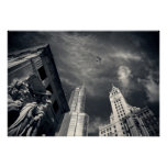 Black and White Chicago City Skyline with
