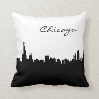 Black and White Chicago Landmark Cushion