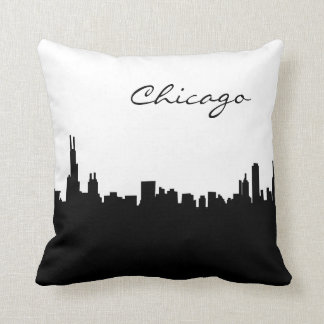 Black and White Chicago Landmark Pillow
