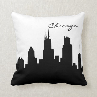Black and White Chicago Skyline Cushion