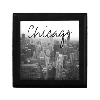 Black and White Chicago Skyline Gift Box