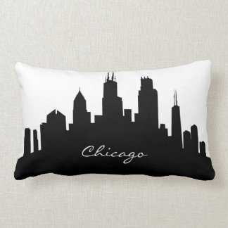 Black and White Chicago Skyline Lumbar Cushion