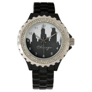 Black and White Chicago Skyline Watches