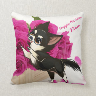 Black and White Chihuahua Pillow