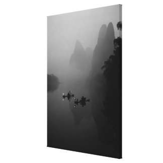 Black and white, China, Li River, Fisherman on Stretched Canvas Print