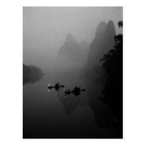 Black and white, China, Li River, Fisherman on Postcard