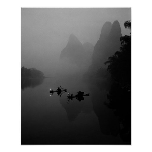 Black and white, China, Li River, Fisherman on Poster