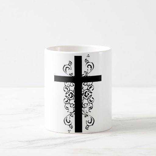 Black and White Christian Cross Mug