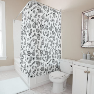 Black And White Christmas Pattern Shower Curtain