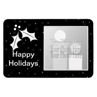 Black and White Christmas (photo frame) Rectangular Photo Magnet