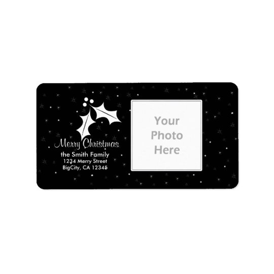 Black and White Christmas Photo Frame Label