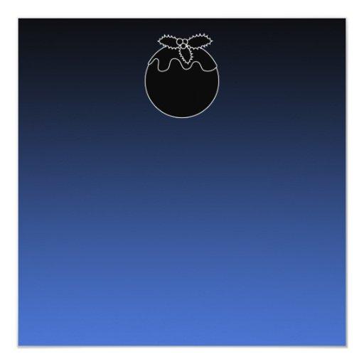 Black and White Christmas Pudding. On Blue. 13 Cm X 13 Cm Square Invitation Card