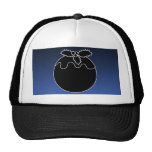 Black and White Christmas Pudding. On Blue. Trucker Hats