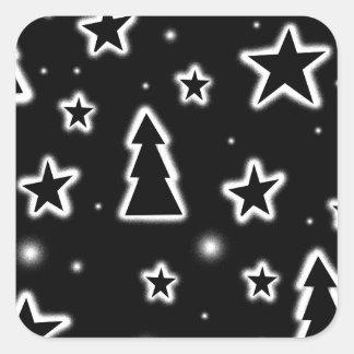 Black and white Christmas Square Sticker