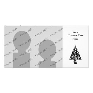 Black and White Christmas Tree Design. Photo Card Template