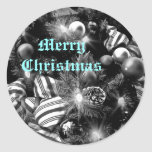 Black and white Christmas tree picture Classic Round Sticker