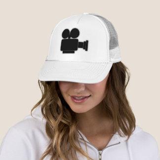 BLACK AND WHITE CINE CAMERA TRUCKER HAT