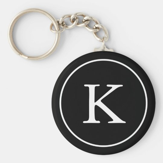 Black and White Circle | Monogram Initial Basic Round Button Key Ring