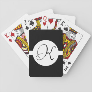 Black and White Circle Monogram Playing Cards