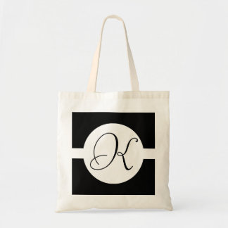 Black and White Circle Monogram Tote Bag