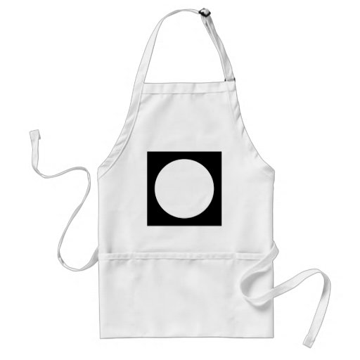 Black and White Circle, Simple Geometric Design. Aprons