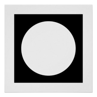 Black and White Circle, Simple Geometric Design. Poster