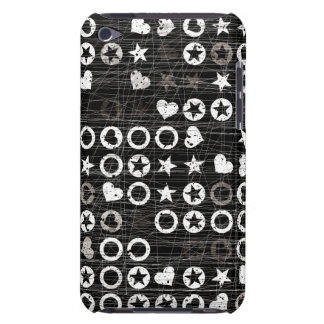 Black and White circles and hearts iPod Touch Case