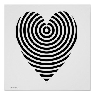 Black and White Circles Heart Poster